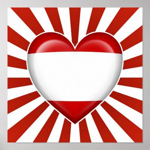 Drapeau de coeur de Tahitian avec des rayons de Su Posters