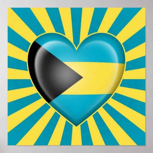 Drapeau de coeur des Bahamas avec des rayons de Su Poster