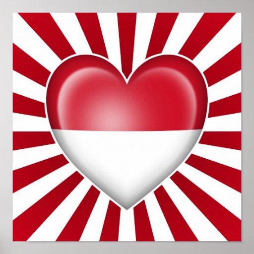Drapeau de coeur du Monaco avec des rayons de Sun Posters