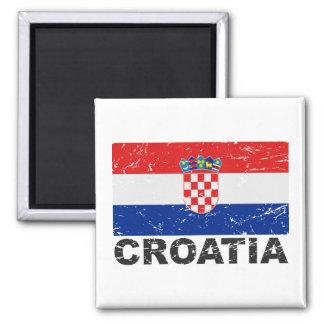 Drapeau de cru de la Croatie Magnet Carré