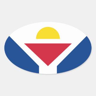Drapeau de Saint Martin - Flag of Saint Martin Oval Sticker