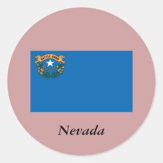 Drapeau d'état du Nevada Autocollant Rond