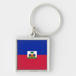 Drapeau d'Haïti - Flag of Haiti Silver-Colored Square Keychain