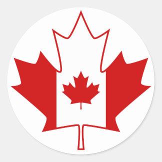 Drapeau du Canada dans la feuille d'érable - blanc Sticker Rond