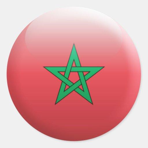 Drapeau du maroc sticker rond zazzle - Drapeau du maroc a imprimer ...