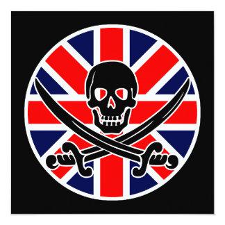 drapeau du Royaume-Uni de pirate Carton D'invitation 13,33 Cm