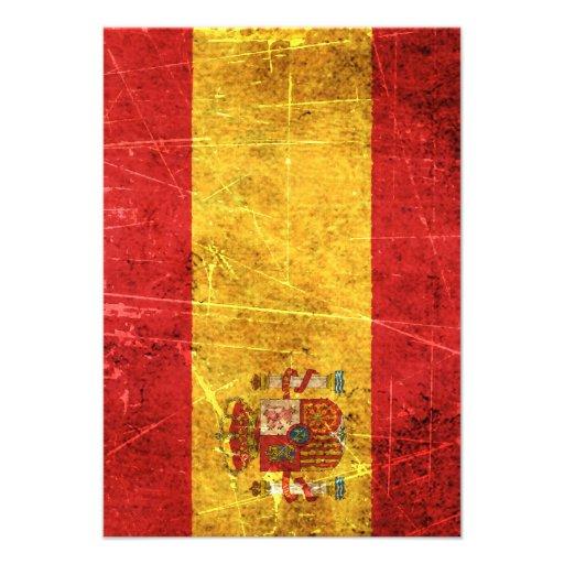Drapeau espagnol vintage rayé et porté invitation personnalisable