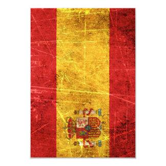 Drapeau espagnol vintage rayé et porté carton d'invitation 8,89 cm x 12,70 cm