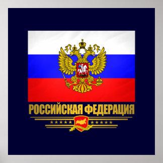 Drapeau et emblème de Fédération de Russie Poster