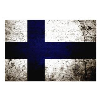 Drapeau grunge noir de la Finlande