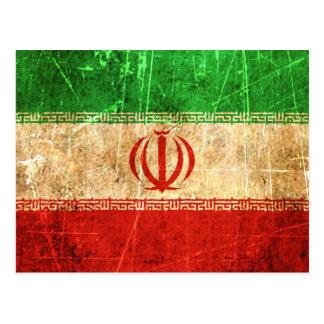Drapeau iranien vintage rayé et porté cartes postales