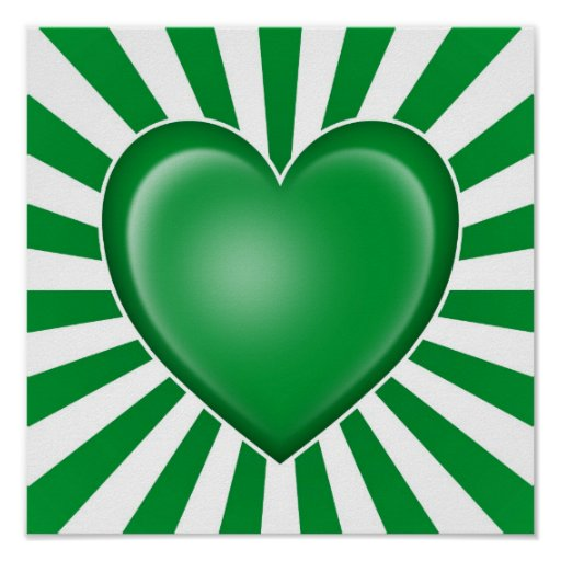 Drapeau libyen de coeur avec des rayons de Sun Affiches