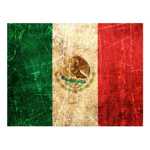 Drapeau mexicain vintage rayé et porté cartes postales