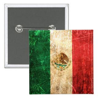 Drapeau mexicain vintage rayé et porté macaron carré 5 cm