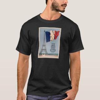 Drapeau national français vintage et Tour Eiffel T-shirt