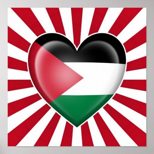 Drapeau palestinien de coeur avec des rayons de Su Affiche