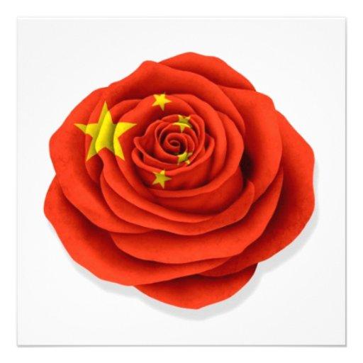 Drapeau rose de Chinois sur le blanc Carton D'invitation