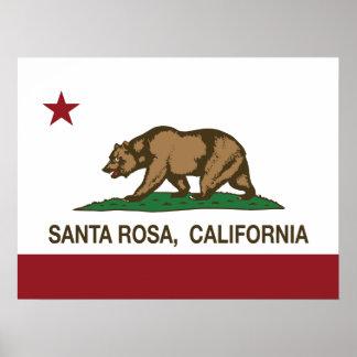 Drapeau Santa Rosa d'état de la Californie Poster