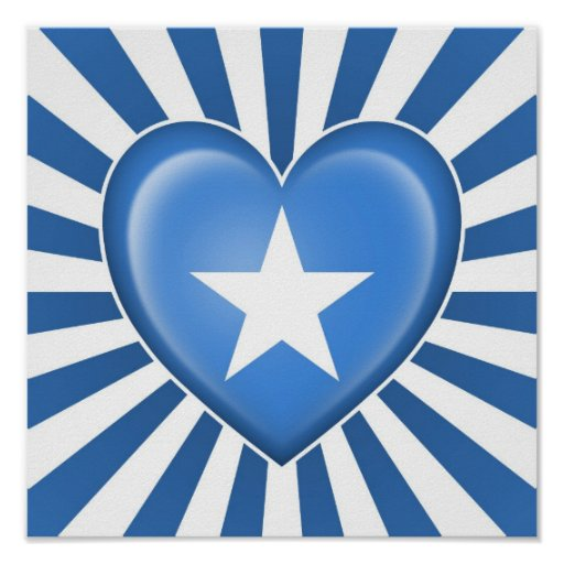 Drapeau somalien de coeur avec des rayons de Sun Posters