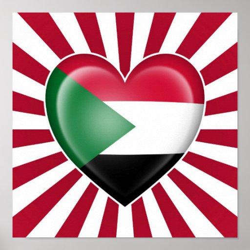 Drapeau soudanais de coeur avec des rayons de Sun Posters