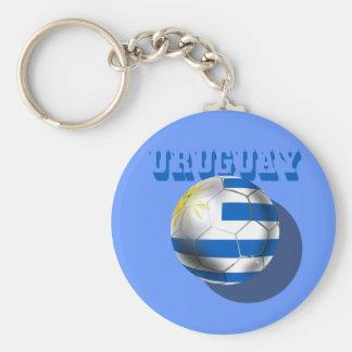 Drapeau uruguayen de l'amour du football de footba porte-clé rond