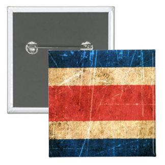 Drapeau vintage rayé et porté du Costa Rica Macaron Carré 5 Cm