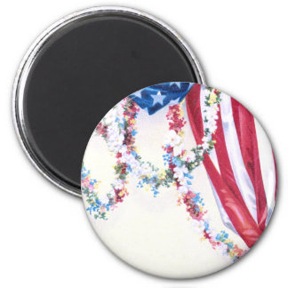 Draped Flag and Flower Garlands Magnet