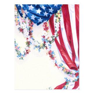 Draped Flag and Flower Garlands Postcard