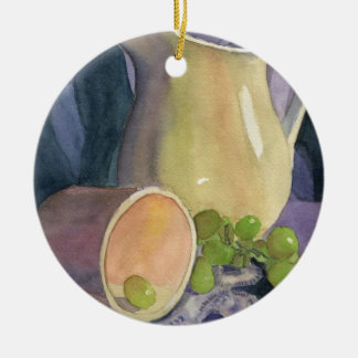 Drapes and Grapes Round Ceramic Ornament