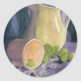 Drapes and Grapes Round Sticker