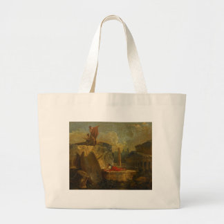 Draughtsmen in a Landscape with Antique Ruins Jumbo Tote Bag