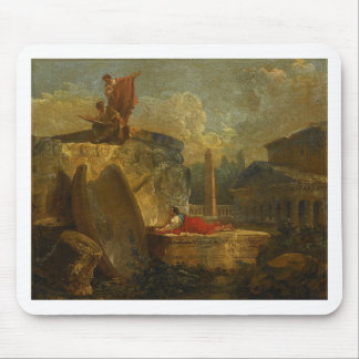 Draughtsmen in a Landscape with Antique Ruins Mouse Pad