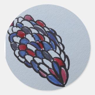Draw blue red classic round sticker