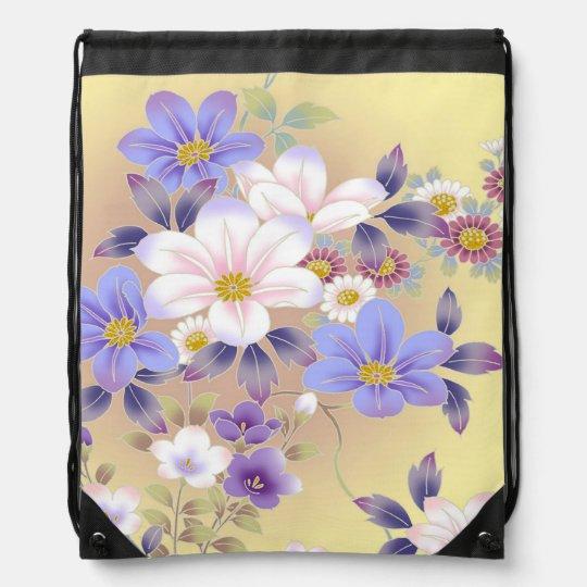 Draw String Back Pack Floral Print Drawstring Bag