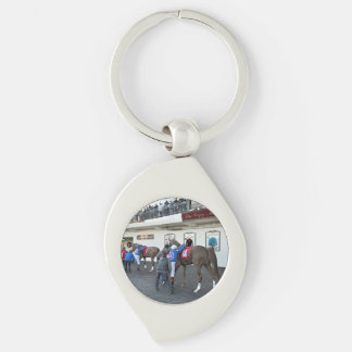 Drawing Away Stables Silver-Colored Swirl Keychain