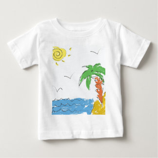 Drawing beach with palm tree baby T-Shirt