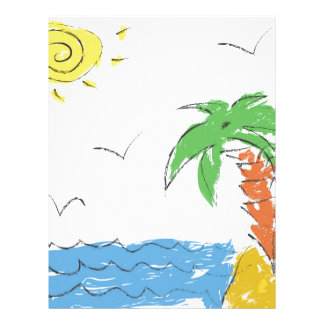 Drawing beach with palm tree letterhead