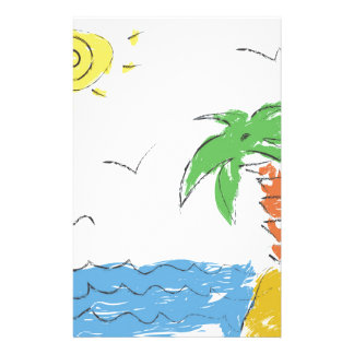 Drawing beach with palm tree stationery