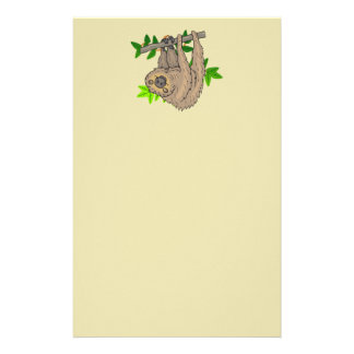 Drawing of a Sloth Hanging Upside Down Stationery Paper