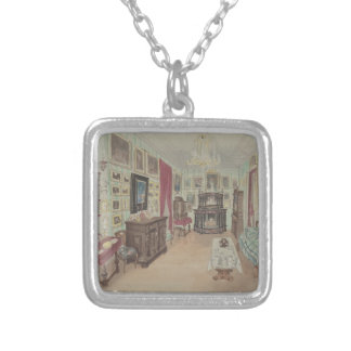Drawing of an Interior- Cabinet du Salon Silver Plated Necklace