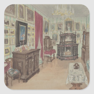 Drawing of an Interior- Cabinet du Salon Square Sticker