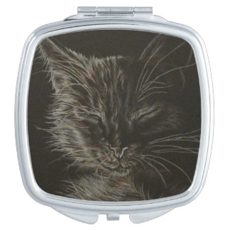 Drawing of Black Cat on Compact Mirror