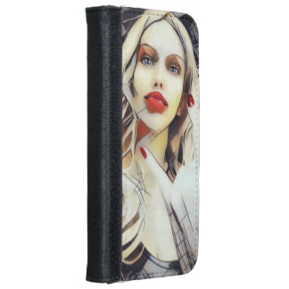 Drawing of blonde girl with horn sign iPhone 6 wallet case