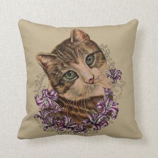 Drawing of Brown Cat and Lilies Art on Pillow