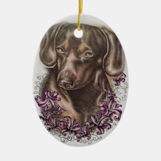 Drawing of Brown Dachshund Dog and Lilies Art Ceramic Ornament