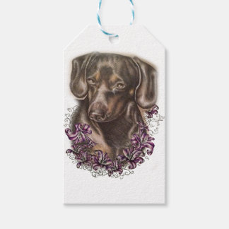 Drawing of Brown Dachshund Dog and Lilies Art Gift Tags