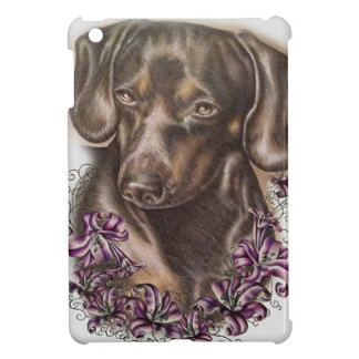 Drawing of Brown Dachshund Dog and Lilies Art iPad Mini Cover