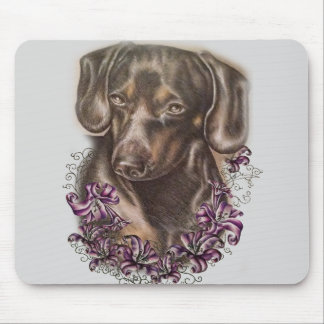 Drawing of Brown Dachshund Dog and Lilies Art Mouse Pad