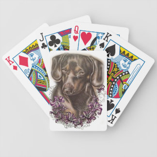 Drawing of Brown Dachshund Dog and Lilies Art Poker Deck