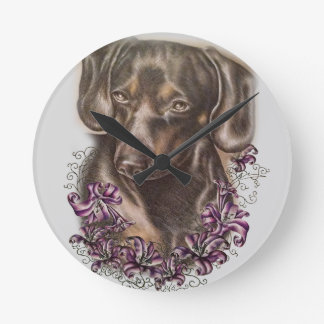 Drawing of Brown Dachshund Dog and Lilies Art Round Clock